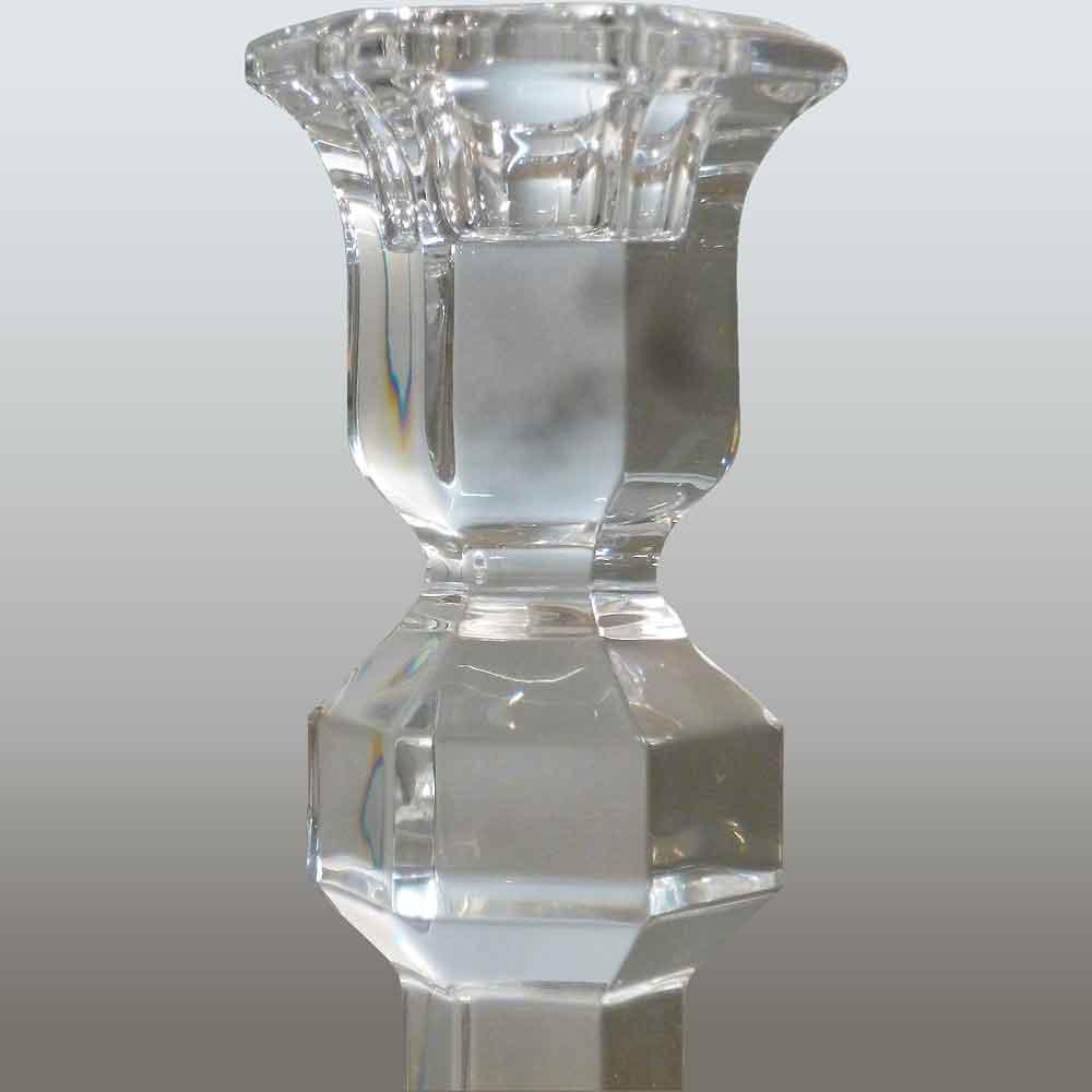 Pair of Val Saint Lambert crystal candlesticks in clear crystal Galatée pattern