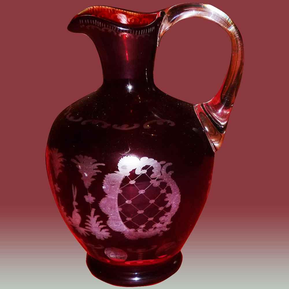 Cruche en cristal de Bohême 19eme siècle