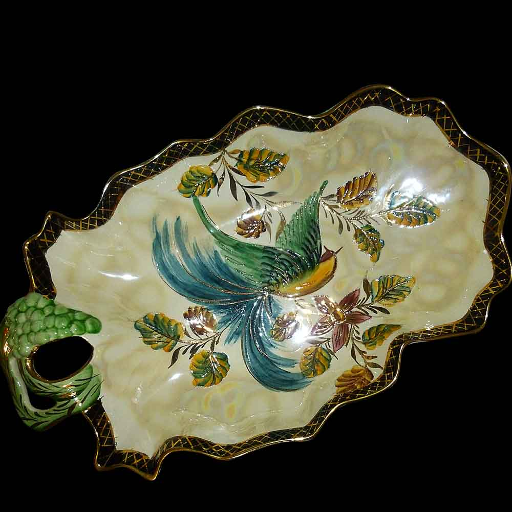 coupe, centre de table en faïence peinte émaillée (Belgium) Art déco, signée, Estampillée