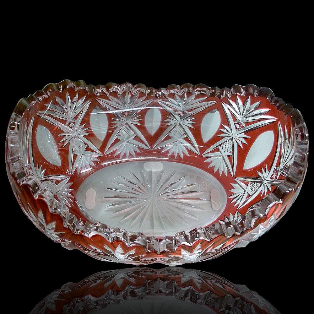 Walnut bowl 1908 crystal from Val Saint Lambert-Hubert Fouarge