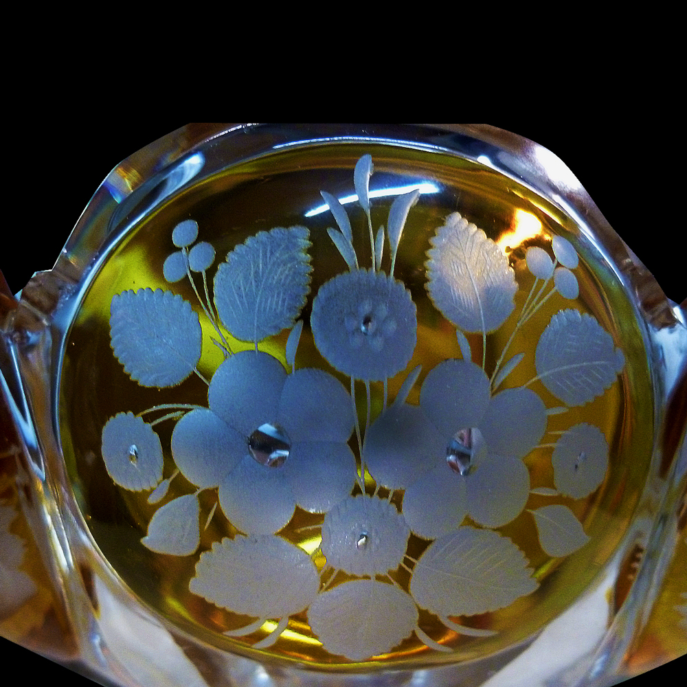 Cup in amber Bohemian crystal XIX century