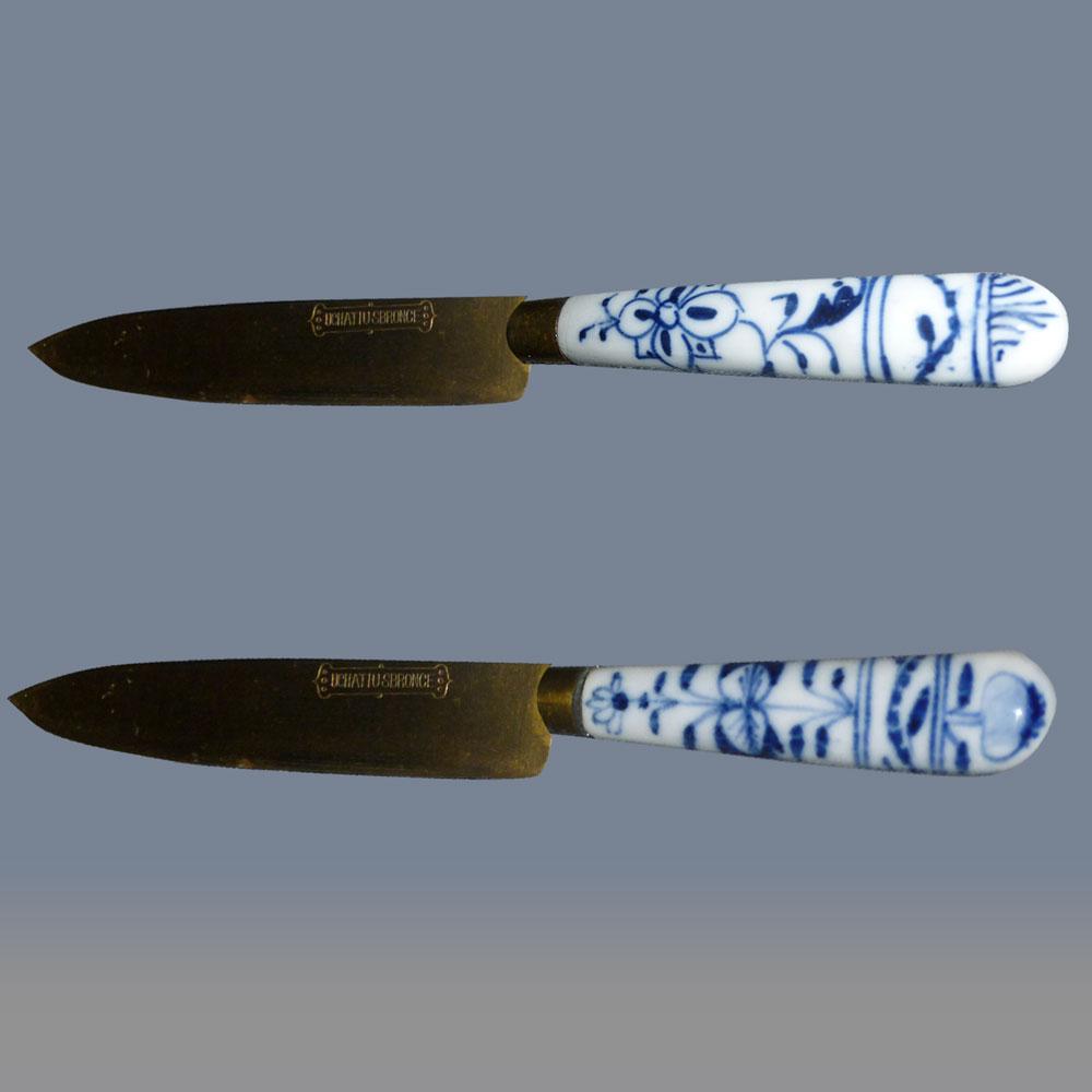 Porcelaine Meissen 19 siècle couteaux à fruits