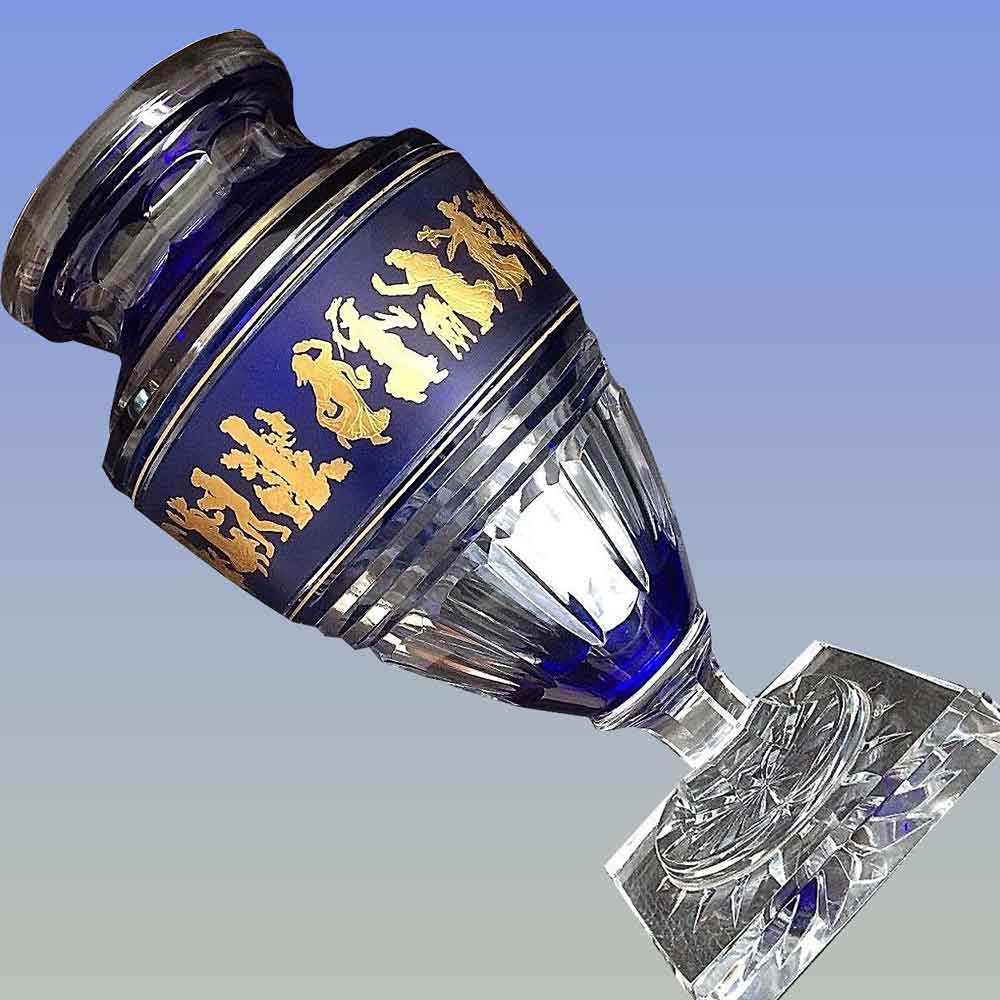 Vase jupiter en cristal Val Saint Lambert signé (dance de flore)