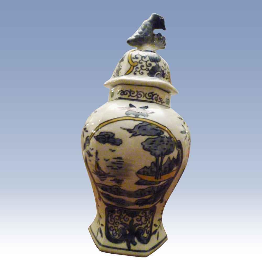 Delft vase couvert-potiche XVIIIe siecle-Delft vaas XVIII-Delft Sch..