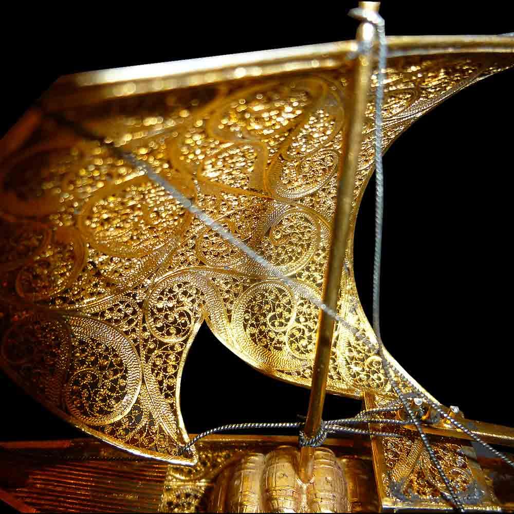 Felouque en argent et or poinçonné fin 19 siecle