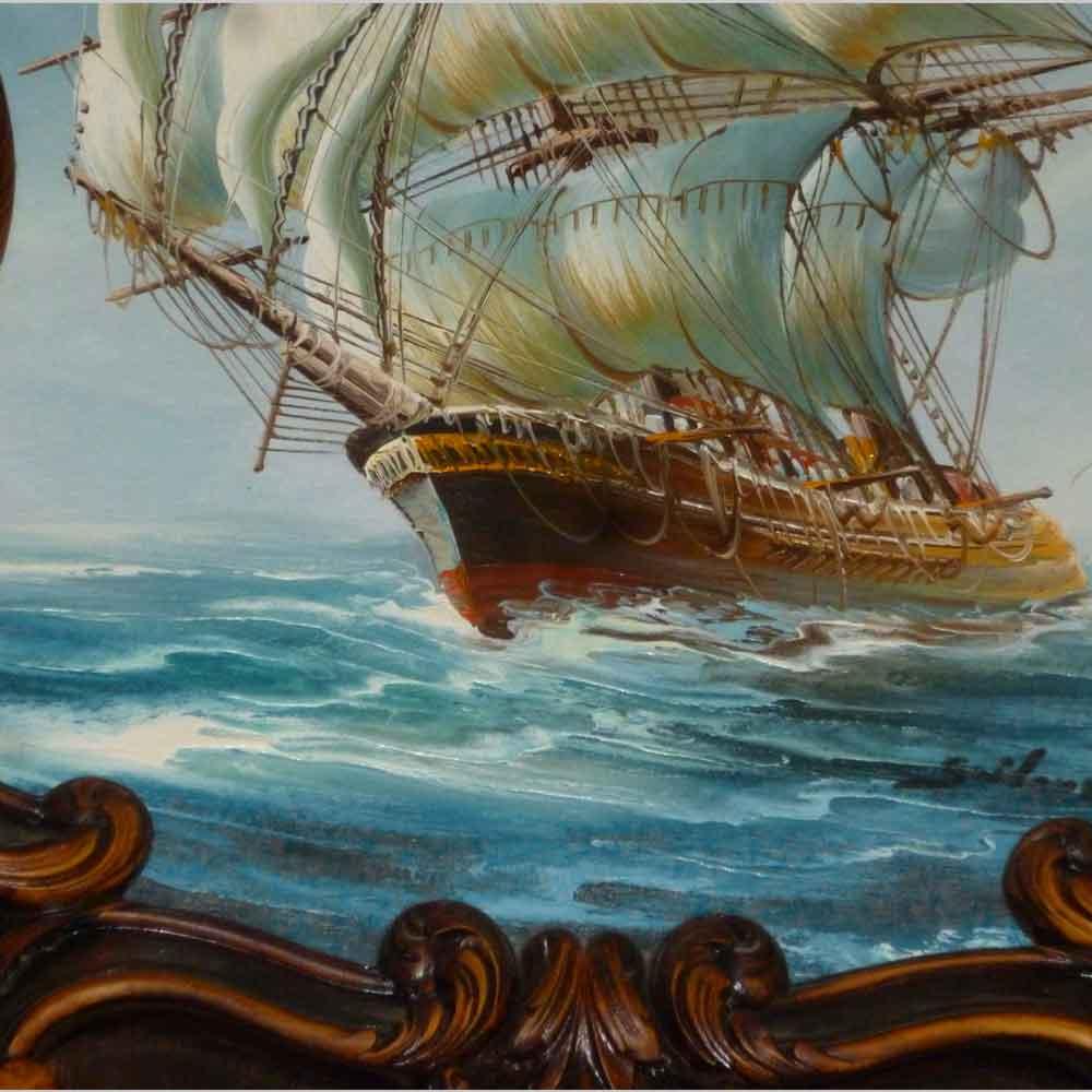 Large 19th century marine (oil on panel)