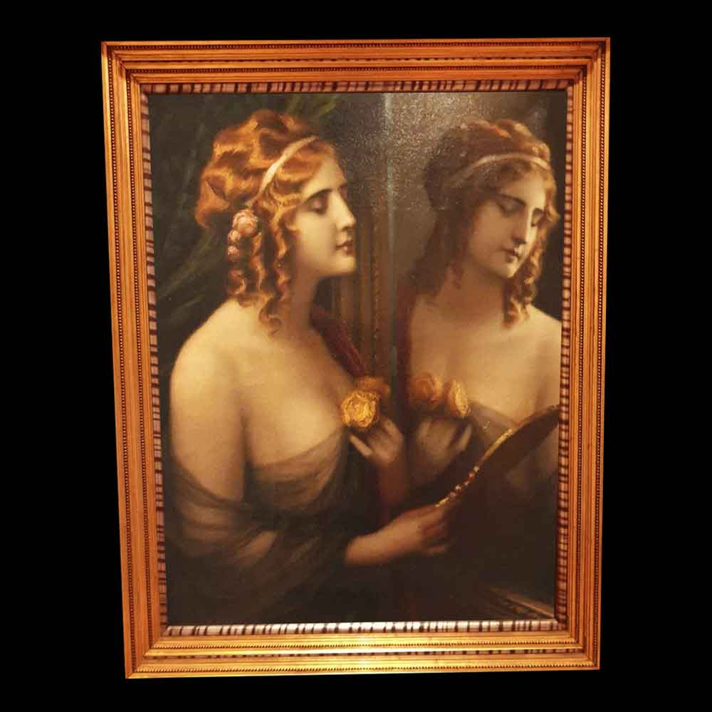 """Romantic oil on canvas """"Allegory to Beauty""""   Double portrait Napoleon III signed"""