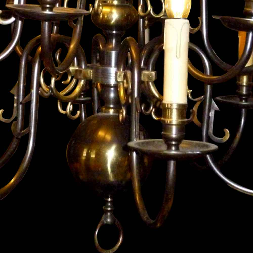 Lustre en bronze et laiton 19 siècle
