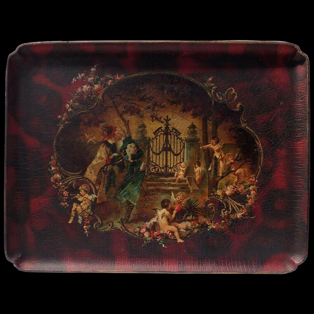 Plateau Napoleon III à décor romantique, carton bouilli