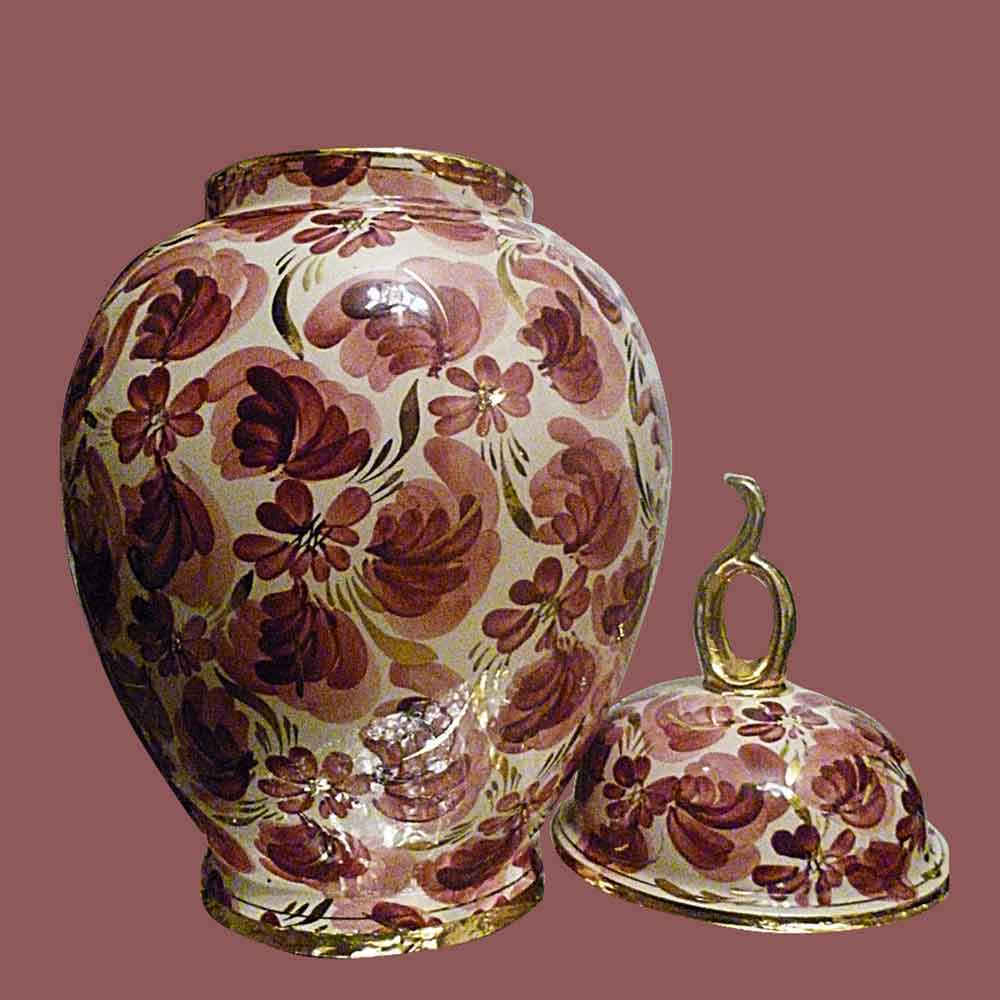 Porcelaine-Faience vase couvert,potiche Hubert Bequet Quaregnon