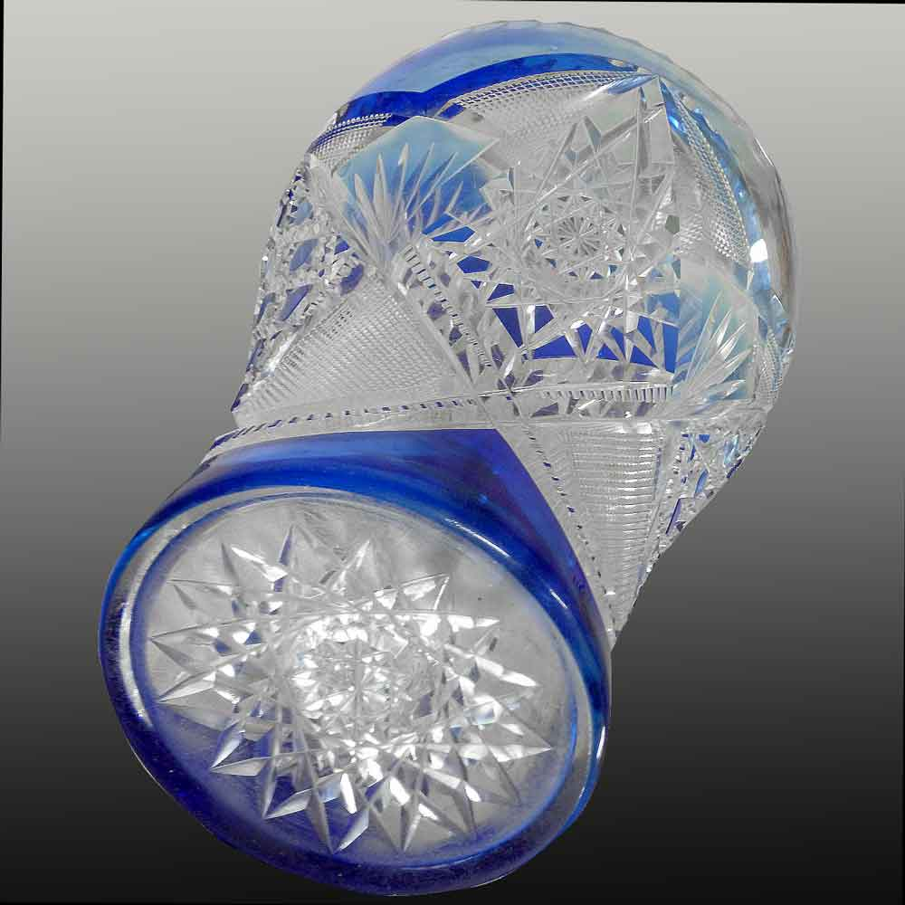 Jarrón de cristal Val Saint Lambert para enjuague de uvas de Léon Ledru