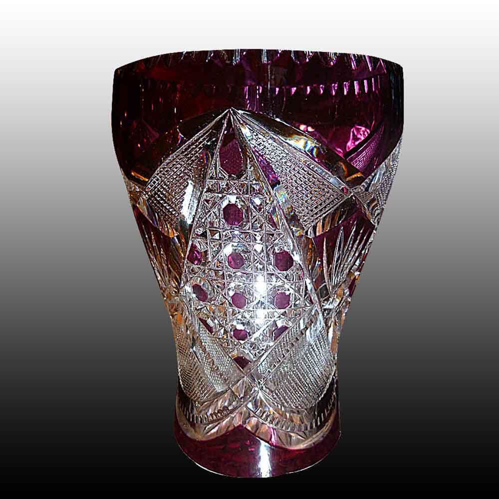 Val Saint Lambert vase rince raisin taille incolore et double aubergine creation Leon Ledru