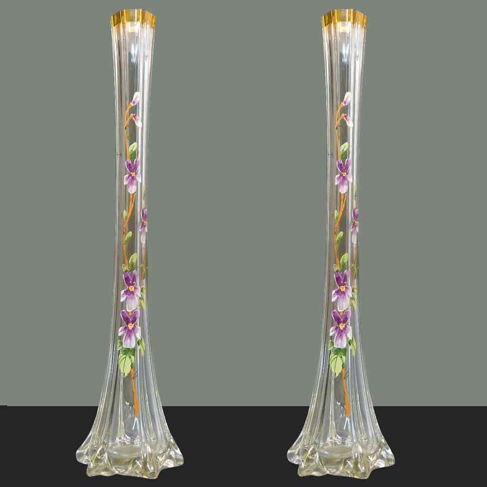Pair of large Art Nouveau enamelled soliflora vases