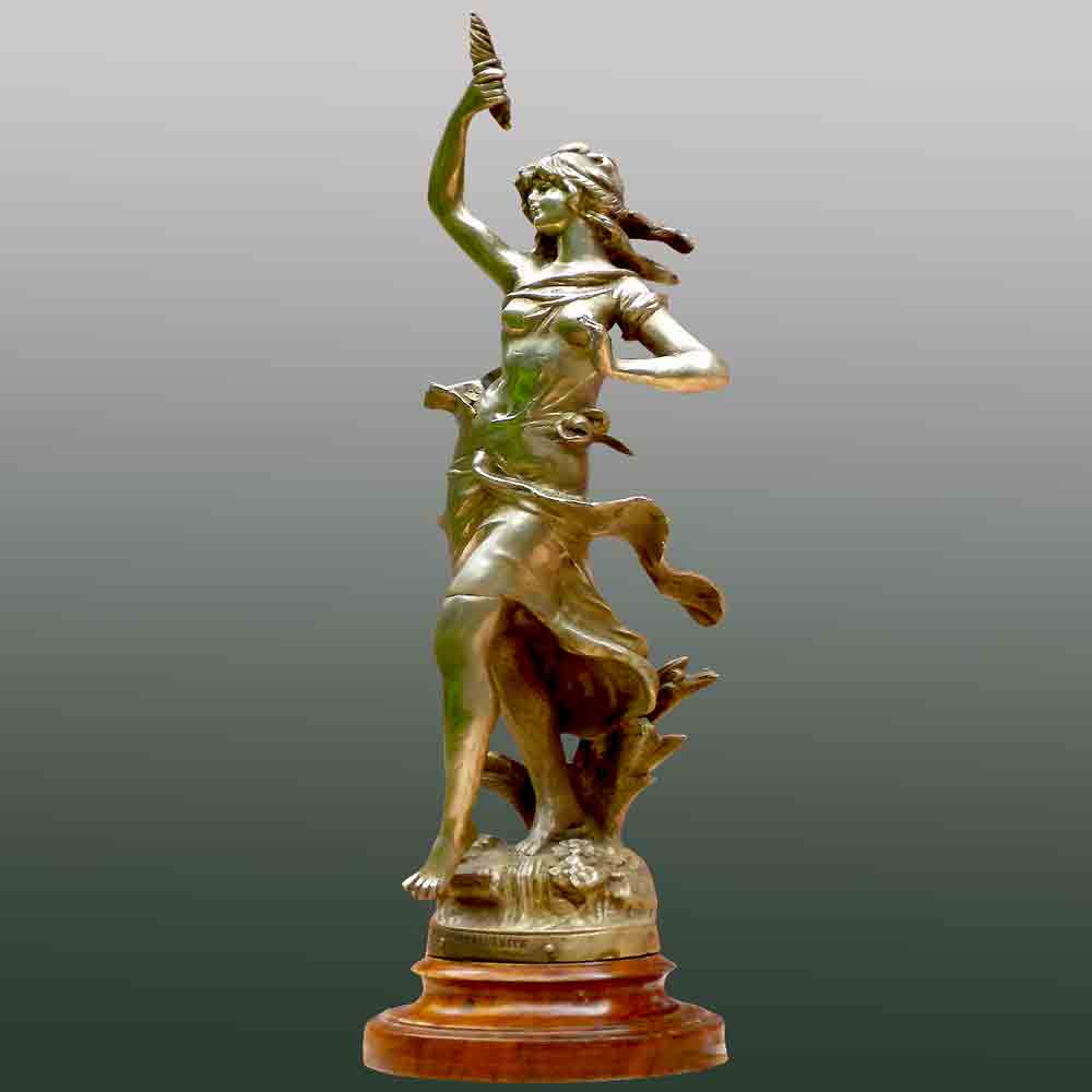 Bronze by Auguste Moreau titled Marguerite France 1880