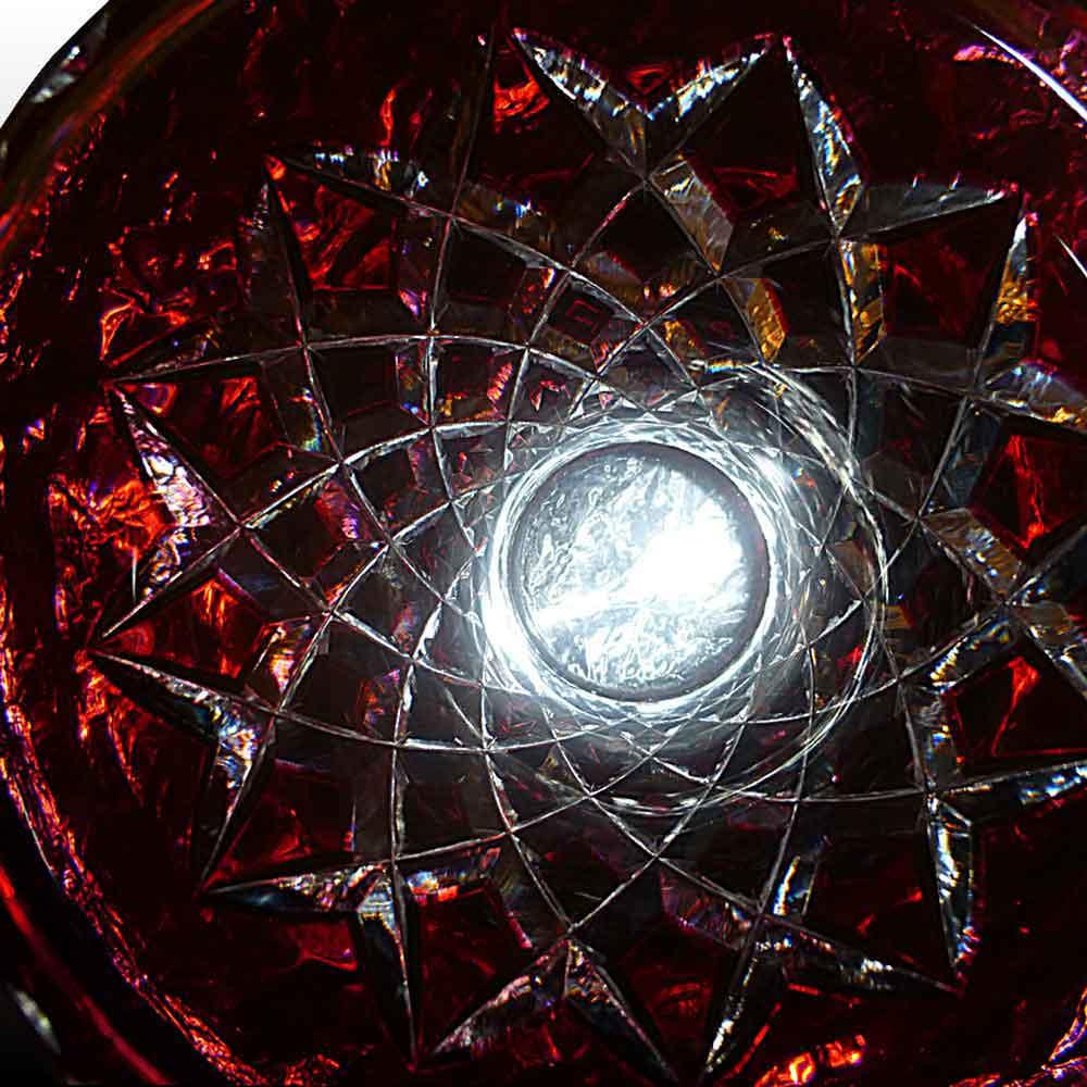 Val Saint Lambert vase Cranberry signe