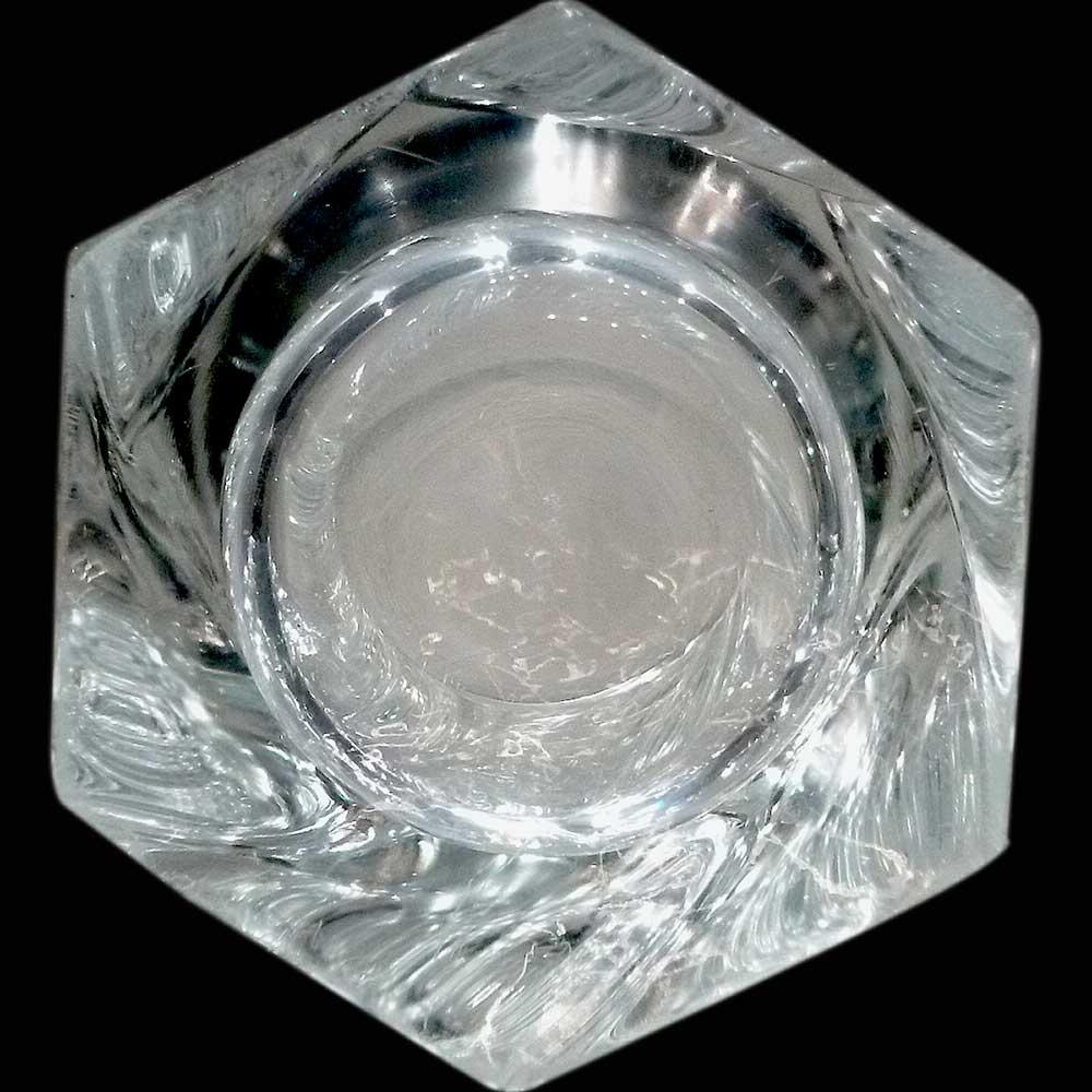 vase en cristal de sevres signe soufflè bouche