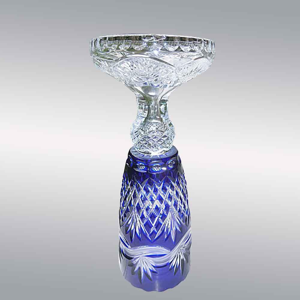 Saint Louis France vase en cristal taille et double bleu cobalt modele Andover