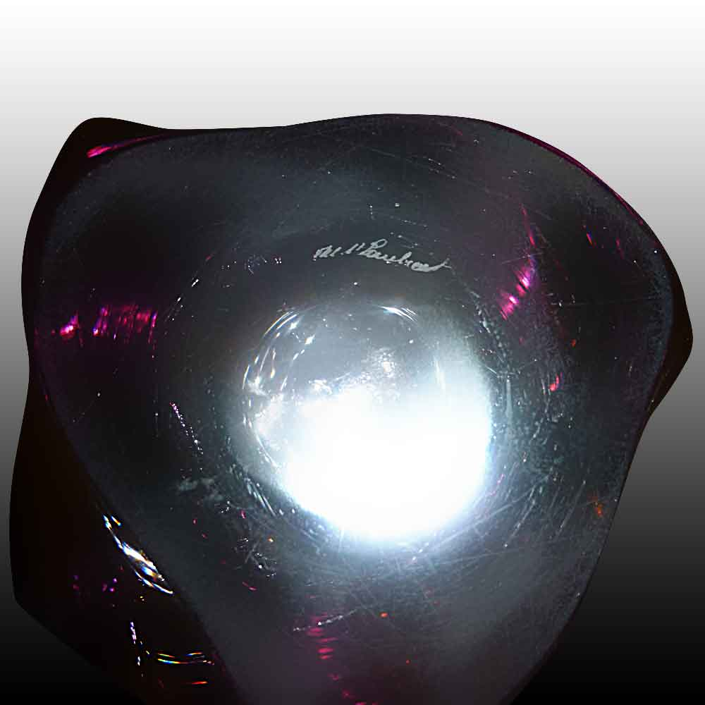 Val Saint Lambert vase en cristal teinte amethyste lumineux-XXe siecle